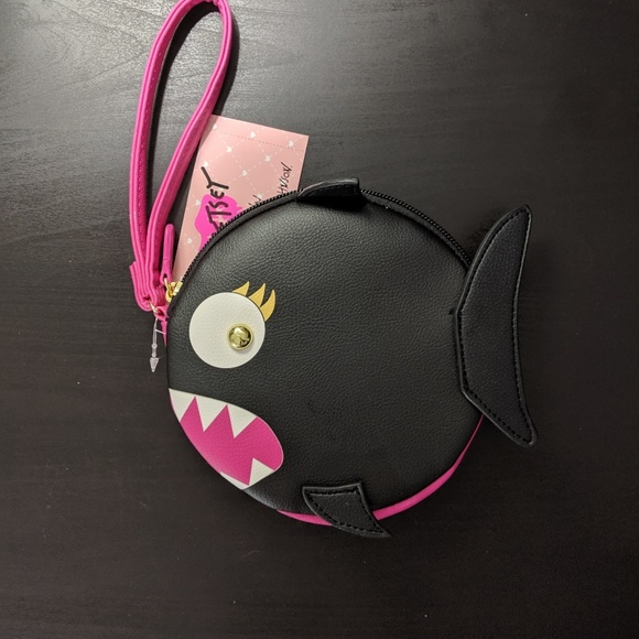 Betsey Johnson Handbags - Luv Betsey Black Shark Round Coin Purse